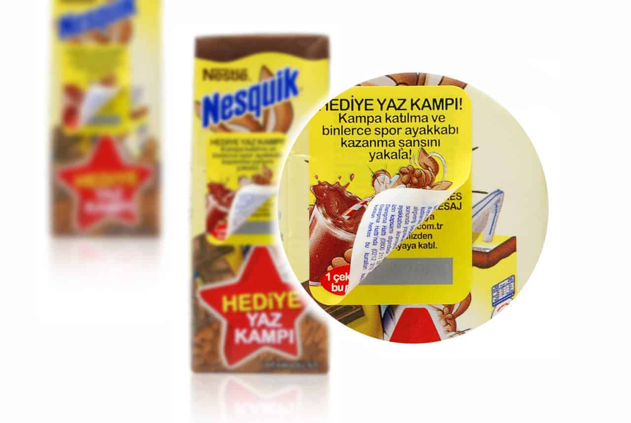 2-PLY LABEL WITH SCRATCH PAD PROMOTIONS